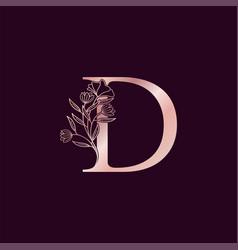 Gold rose flower letter d luxury logo elegant vector