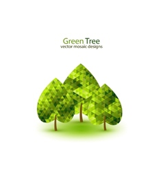 Green mosaic tree ecology design vector