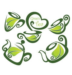 Green tea forms symbols and images vector