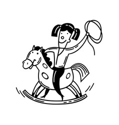 happy little child and a rocking horse cartoon vector image
