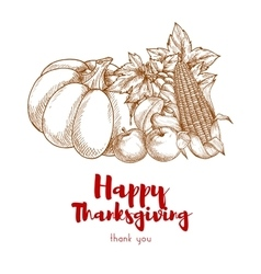 Happy Thanksgiving greeting with autumn harvest vector