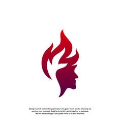 head fire logo concept mind fire logo spirit vector image