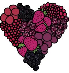 Heart of berries vector image