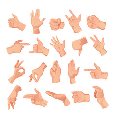 human hand gestures collection vector image