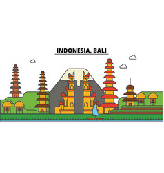 Indonesia bali city skyline architecture vector