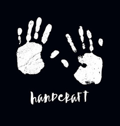 Isolated black and white handprint vector