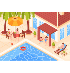 isometric villa holidays composition vector image
