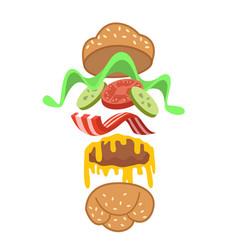 jumping burger ads vector image