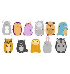 kawaii animals set cute animals vector image