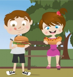 Kids eating fast food vector
