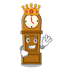 King grandfather clock mascot cartoon vector