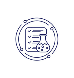 Lab test results line icon on white vector