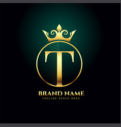 letter t and grown golden logo concept template vector image