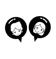 line boy and girl head inside chat bubble vector image