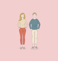 man and woman standing poses isolated vector image