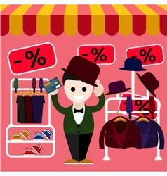 Man chooses perfect clothes and a hat in the store vector
