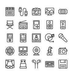 Media and entertainment line icons vector