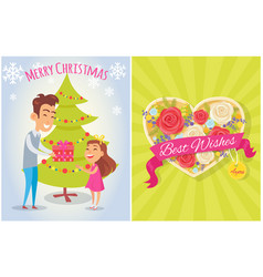 merry christmas best wishes for you postcard heart vector image