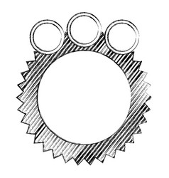 Monochrome sketch of circular speech with sawtooth vector