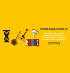 national musical instruments banner horizontal vector image
