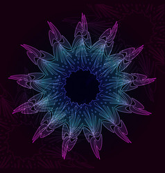 neon mandala on dark backgroung vector image