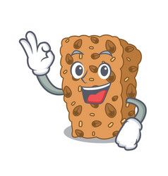 Okay granola bar character cartoon vector
