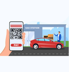 Payment with barcode on gas station vector