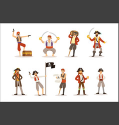 pirate sailors with classic filibusterer vector image