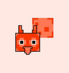 Pixel owl head with talk cloud vector
