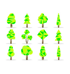 Polygon trees set low poly style vector