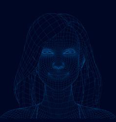 polygonal portrait a girl with long hair girl vector image