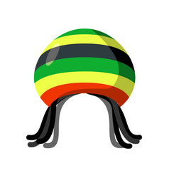 Rastafarian hat and dreadlocks isolated jamaica vector