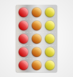 Realistic 3D medical pills in blister pack vector