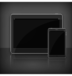 Realistic modern tablet on black vector image