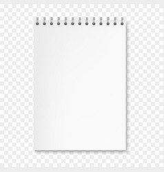 realistic vertical white notebook on spiral vector image