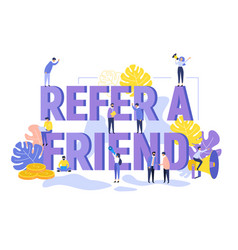 Refer friend referral megaphone marketing con vector