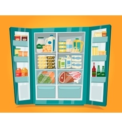 Refrigerator Full of Food in Flat Design vector image