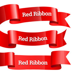 ribbons set realistic red glossy paper ribbon vector image