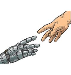 Robot and human hand engraving vector