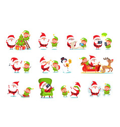 Santa claus activities set vector