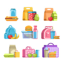 school lunch boxes with kids snacks in containers vector image