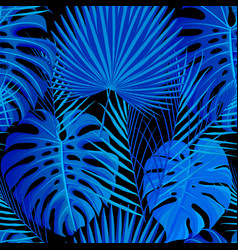 seamless pattern with tropical exotic palm leaves vector image