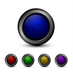 Set of multicolored glass buttons vector