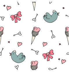 Set of valentine pattern in doodle style vector