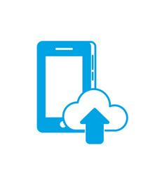 silhouette smartphone technology with cloud data vector image
