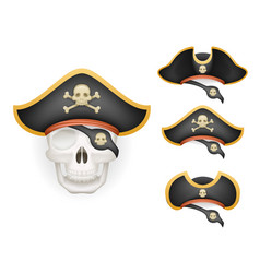 Skull with pirate hats set realistic head isolated vector