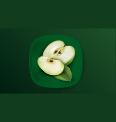 Sliced green apple on a green plate vector