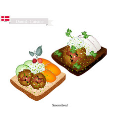 smorrebrod with meatball the national dish of denm vector image