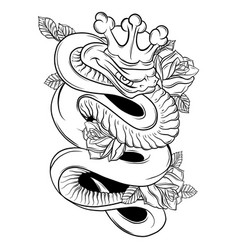 snake and rose traditional vector image