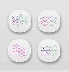Sound waves app icons set uiux user interface vector